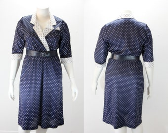 Large Vintage Dress - Navy Blue and White Polka Dots