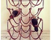 Hold for Lorenkemp   wine rack / leather strap industrial wine rack / vintage wedding / 12 bottle wine rack / gift for her / gift for him