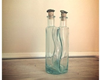 Vintage mint green glass bottles with pewter corks / made in Italy / vintage glass serving bottle / Oil vinegar bottles / supply bottle