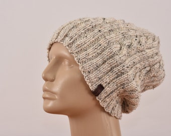 Mens Slouchy Beanie, Hand Knit Wool Hat, Beanies For Men, Mens Winter Hat, Soft Wool, Accessories