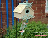 Hand Painted Green and Tan Cuckoo Clock Inspired Bird House
