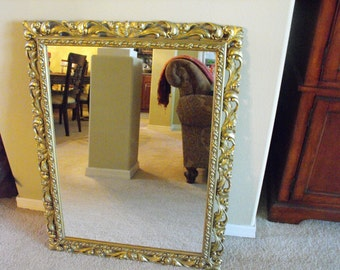 "Ornate Huge Gold Mirror - Shabby Elegant - Gold Gilt Wood -  - HUGE 30"" x 39""  - shabby  Chic - XL Gold ornate mirror - can be painted"