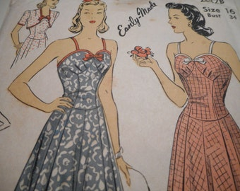 Vintage 1940's DuBarry 2632B Sports or Evening Dress and Bolero Sewing Pattern, Size 16 Bust 34