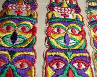 Vintage 1970's? Bright Color Totem Fabric Appliques