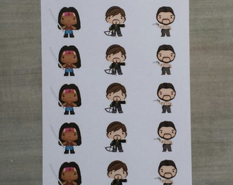 The Walking Dead Rick, Michonne, and Daryl stickers