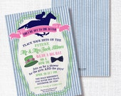 PREPPY SEERSUCKER HORSE couples shower invitation hat bow tie they're off to the altar bridal wedding navy pink green kentcuky derby race