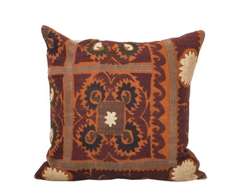 18 x 18 Pillow Cover Suzani Pillow Vintage Suzani Pillow Hand Embroidered Pillow Uzbek Suzani Pillow FAST SHIPMENT with ups or fedex - 07564