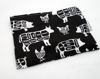 Reusable Snack Bag -- Butcher Shop Fabric, Eco-Friendly