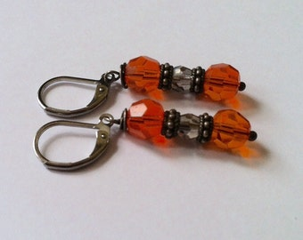 Bright Orange Beaded Earrings On Antique Silver Leverbacks