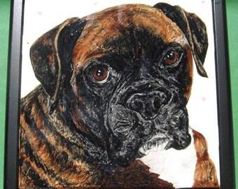 "Dog Portrait Tile-6"" set into keepsake box lid"