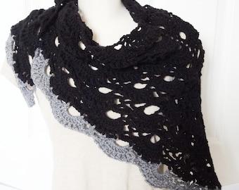 Sale Shawl - 25% Off - Crochet Lacey Black and Grey Shawl/Shawlette/Neckerchief/Triangle Shawl - Ready to Ship