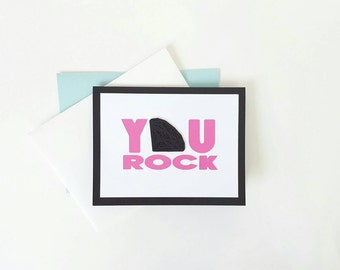 you rock glittery black diamond congratulations graduation promotion birthday love card