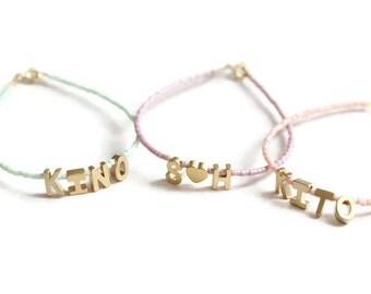 Initial Name Bracelet. Tiny Letter Bracelet. Delicate Monogram beaded bracelet. Personalised Bracelet. Initial Jewelry. Gold letter bracelet