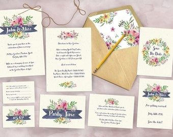 Spring Floral Wedding Invitation Bundle