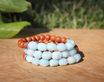 The Mira Bracelet, Amazonite, Bayong Wood, Sterling Silver, Intrinsic Journeys