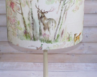 Drum lampshade light shade pendant table lamp in Voyage Maison Enchanted Forest stag woodland linen floral fabric 30cm 20cm 40cm