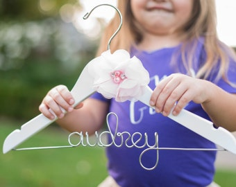 Flower Girl Hanger, Flower Girl Gifts, Wedding Hanger, Bride Hanger, Bridesmaid Gifts, Custom Name Hanger, Flower Girl Childrens Kid Hanger