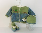 Baby Frog, Cotton Blend Cardigan, Hat and Bootie Set