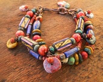 Stunning Rustic Gypsy Tribal Ethnic  Boho mixed gemstone,Ceramic bead  stack bracelet