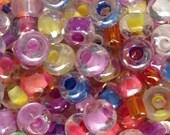 100pcs-4mm pink, orange, yellow, purple, lavender mix color Czech glass seed beads