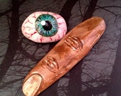 Zombie eyeball and dead finger stones Halloween hand painted stones