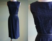 1950s Navy Cocktail Dress - Vintage 50s Wiggle Dress - Textured Sleeveless Dress - Medium