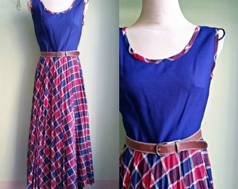 1970's Maxi Dress - Navy and Plaid Dress - We've Only Just Begun Dress - Large