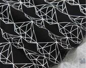 White Diamond on Black Modern Print Oxford Cotton Fabric Geometric - By the Yard 82628