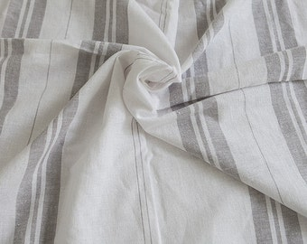 Gray Stripes Cotton Linen - By the Yard 92023