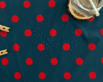 Waterproof Fabric 2.2 cm Red Dots on Navy - By the Yard 89613