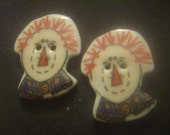 1970s Vintage New Ceramic Raggedy Andy Character Buttons (set of 2)