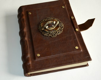 """Leather Journal, notebook, sketchbook, diary, artist book  """"The Eye of Horus"""""""