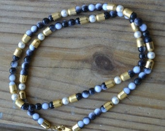 Beautiful vintage antique victorian style faux pearl necklace with gold accent beads / AANEJY