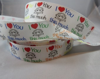 "I love you / Heart Ribbon / Valentine's Day Gift Wrap Ribbon/ 1"" ribbon/ Love Ribbon/ Grosgrain Ribbon/ RN14830"