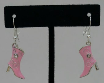 Pink and Silver Cowboy Boot Earrings with Rhinestones on both sides/Western Wear/Bridesmaid Gift