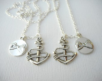2 Pinky Promise, Anchor- Best Friend Necklaces/ Friend, Sister Necklace, Bff Necklace, Bff, Couples Jewelry, His Hers, Boyfriend Girlfriend