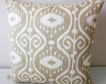 Ikat Pillow, Kilim Pillow, Turkish Pillow, Boho Pillow Cover, Tribal Pillows, African Pillow, Decorative Pillow, Khaki Tan Pillow