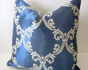 Ice Blue Damask Pillow Cover- Embroidered Pillows- Baroque Pillow Cover- Rococo Pillow Cover- Luxury Designer Pillows- French Pillow Cover