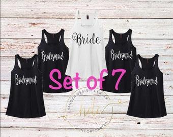 SET OF 7 Bridal party tank tops , wedding tanks   , bridal party gifts  , getting ready tanks, bridesmaid tank tops, bachelorette shirts