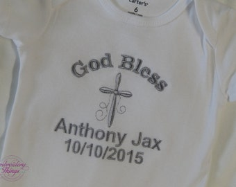 Baptism Bodysuit / Christening bodysuit to Change into after the Event for boy or girl- Baby bodysuit- Baby shower gifts- Cross Bodysuit