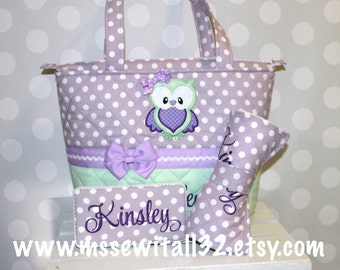 XL Quilted / Purple Polka Dot / Green Diaper Bag Set - Owl Applique- Personalized Diaper Bag Set