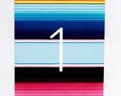Wedding Table Numbers - Bright and Colorful Sarape Destination/Bohemian Wedding Table Numbers (Ana Suite)