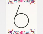 Wedding Table Numbers - Otomi Print – Unique and Ornate Destination Wedding Table Number (Andrea Suite)