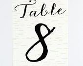 Wedding Table Number - Rustic Intimate Outdoorsy Wedding – Nature Birch Wood Romance Wedding Table Number (Callan Suite)