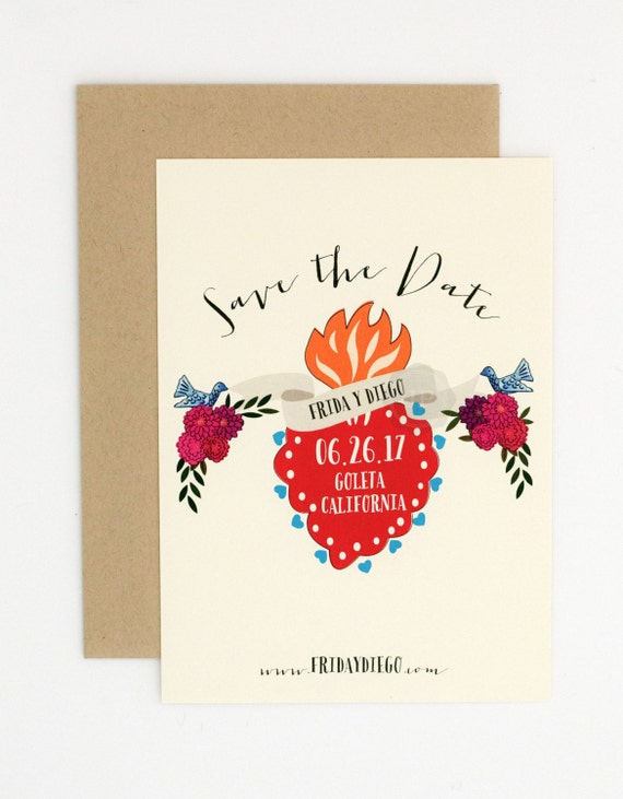 Wedding Save the Date - Frida Kahlo Inspired - Mexican Corazon Sacred Heart - Hand Drawn Wedding Save the Date (Frida Suite)