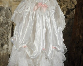 Beautiful vintage baby Christening dress / Baptism gown 1980s White satin & lace baby dress with cap / hat. Bridesmaid dress