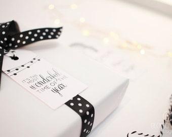 Christmas Tags: Set of 6 tags. Black and White gift tags.