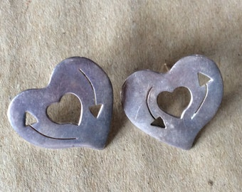 Vintage Sterling Silver Heart Post Earrings
