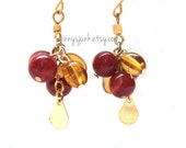 Red and Gold Cluster Earrings - 1 Inch Dangles - Lightweight Earrings - Autumn Jewelry