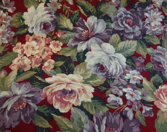 1 1/2 Yards of Beautiful Quilt Cotton Floral Fabric with Roses